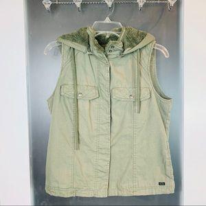 Volcom | Olive Removable Hooded Buttondown Vest